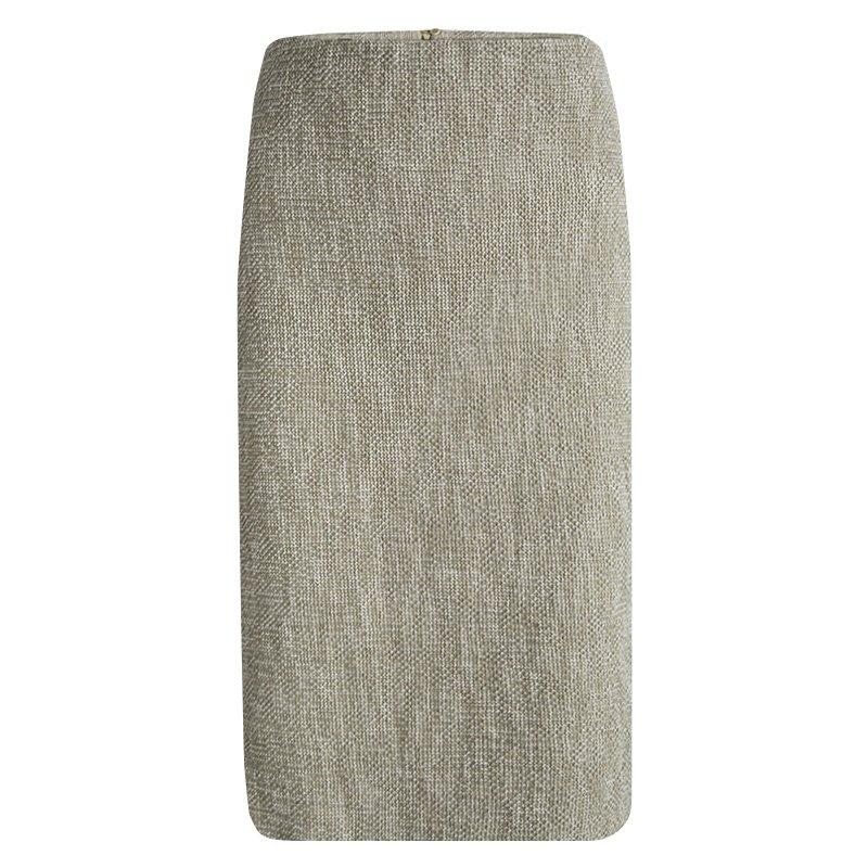 Emporio Armani Beige Textured Cotton Pencil Skirt L