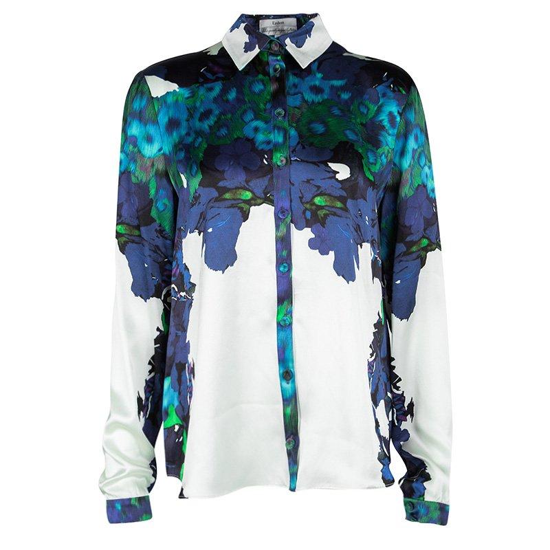 Erdem Multicolor Cecelia Printed Silk Long Sleeve Shirt M