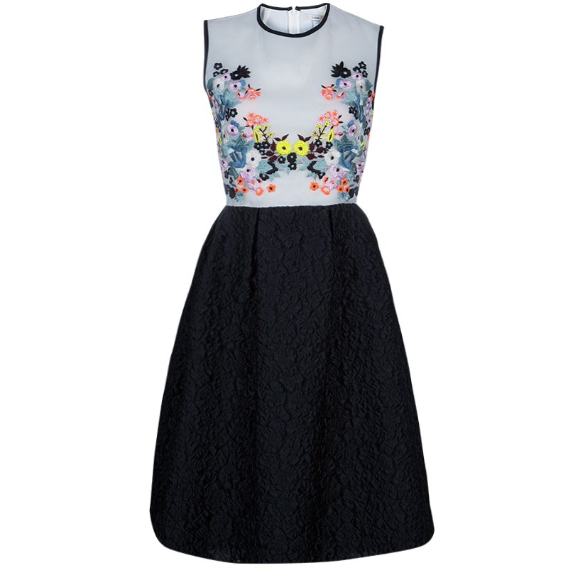 Erdem Multicolor Floral Embroidered Dress M