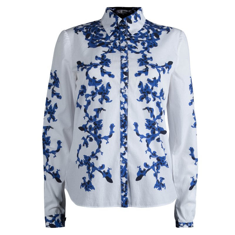 Erdem White and Blue Printed Long Sleeve Button Front Cotton Shirt S