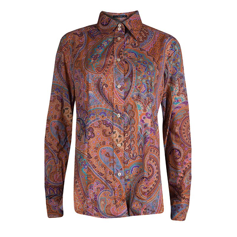 Etro Multicolor Printed Cotton Long Sleeve Button Front Shirt M