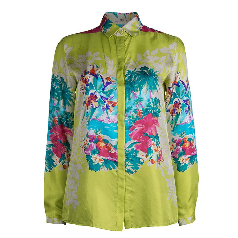 f6146e1eca96d ... Etro Lime Green Floral Printed Silk Long Sleeve Button Front Shirt S.  nextprev. prevnext