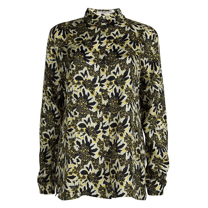 c7e4b87b273026 ... Yellow Floral Printed Silk Long Sleeve Button Front Shirt L. nextprev.  prevnext