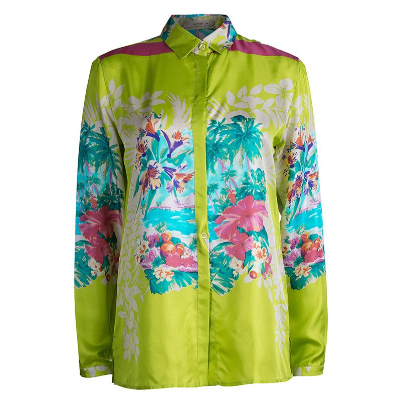 fdff970a1941e ... Etro Lime Green Floral Printed Silk Long Sleeve Button Front Shirt M.  nextprev. prevnext