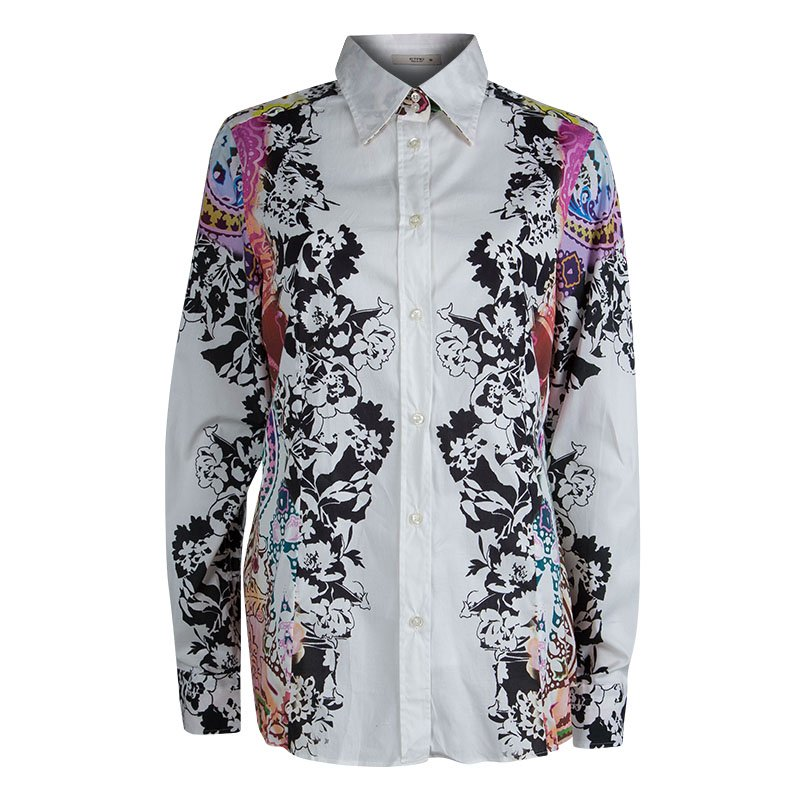 Etro White Floral Printed Long Sleeve Button Front Cotton Shirt XL