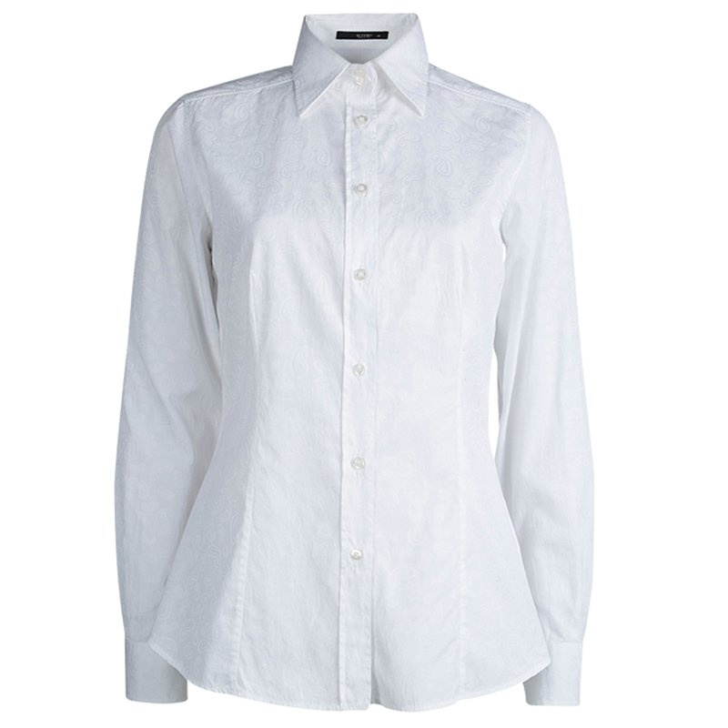 Etro White Paisley Pattern Cotton Jacquard Shirt M