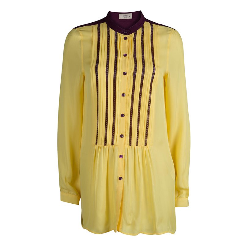 Etro Yellow Silk Pintucked Lace Insert Long Sleeve Blouse M