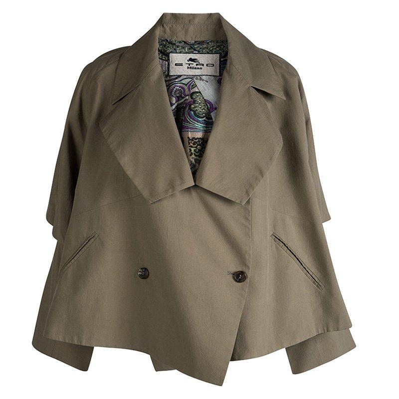 Etro Khaki Cotton Double Breasted Over Sized Jacket M