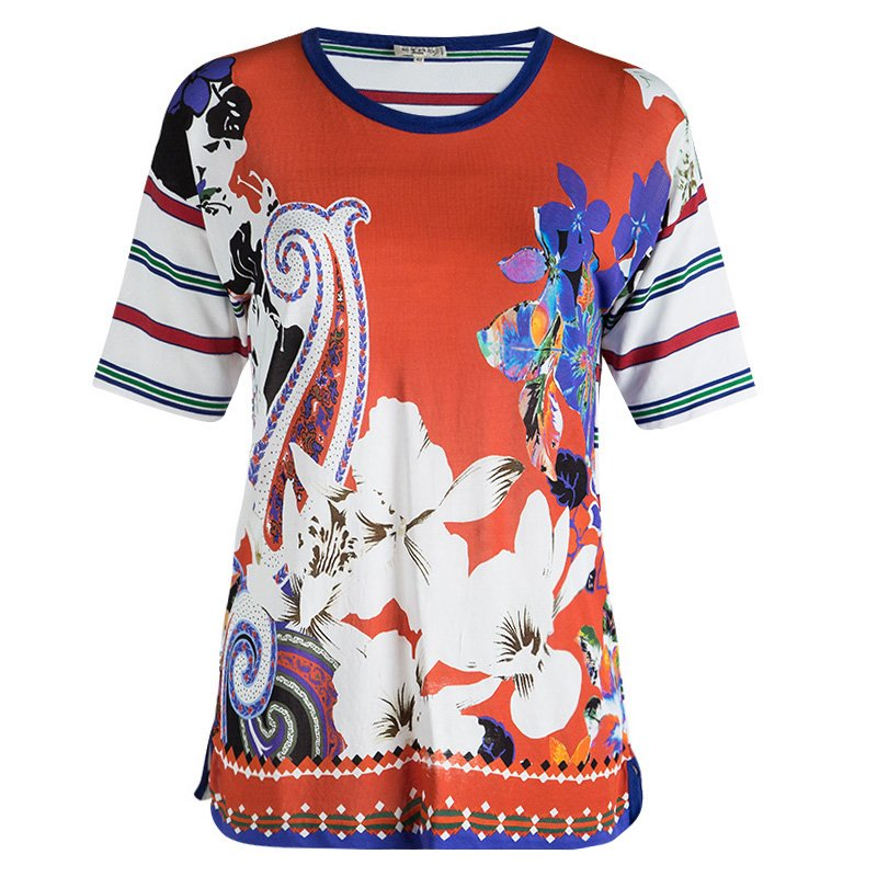 Etro Multicolor Floral Printed Short Sleeve Sheer Top M
