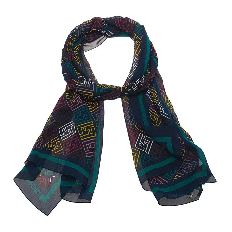 344f1ecda6b Buy Fendi Blue Multicolor Zucca Silk Stole 39090 at best price