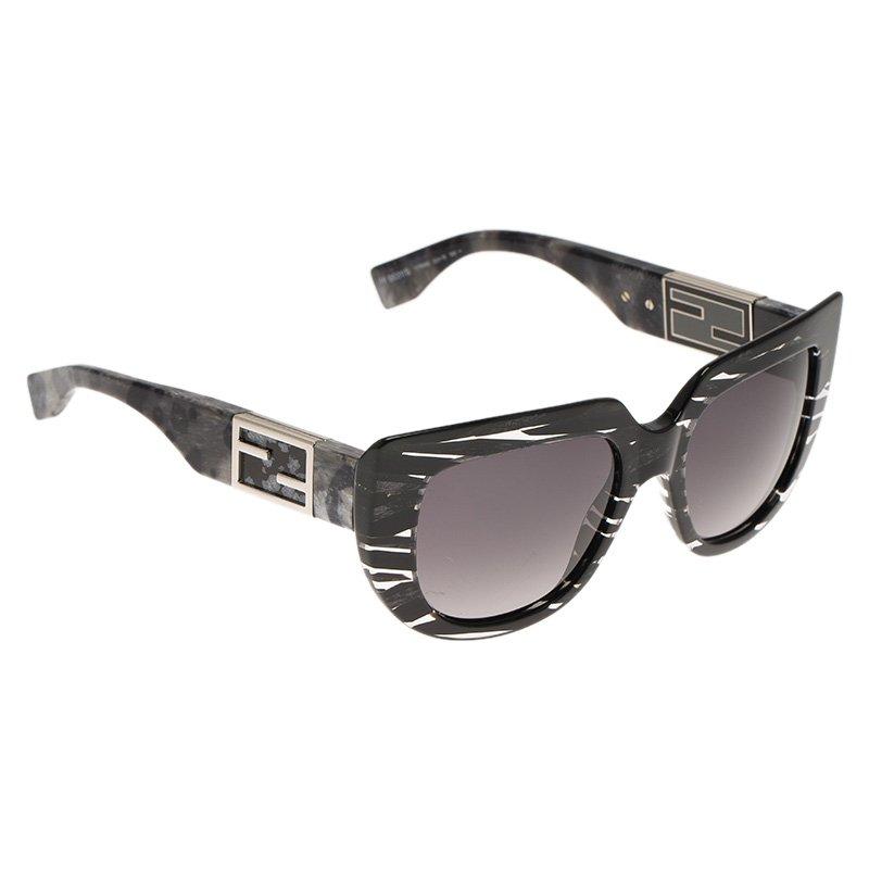 d607660e1005f Buy Fendi Black and Grey FF0031 S Baguette Cat Eye Sunglasses 69070 ...
