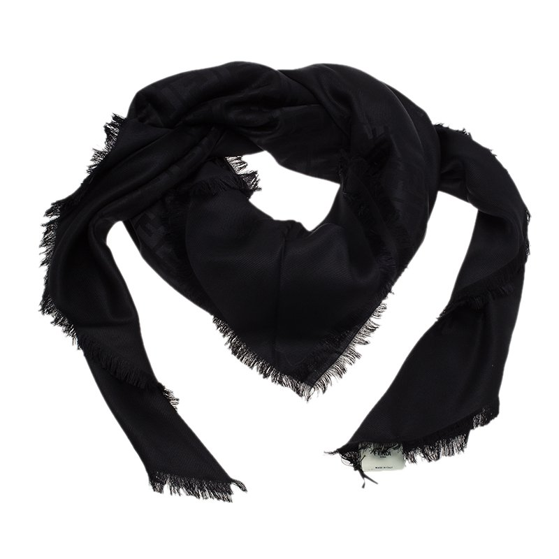 b4987946ee1 ... Fendi Black FF Monogram Silk, Wool & Murmansky Fur Shawl. nextprev.  prevnext