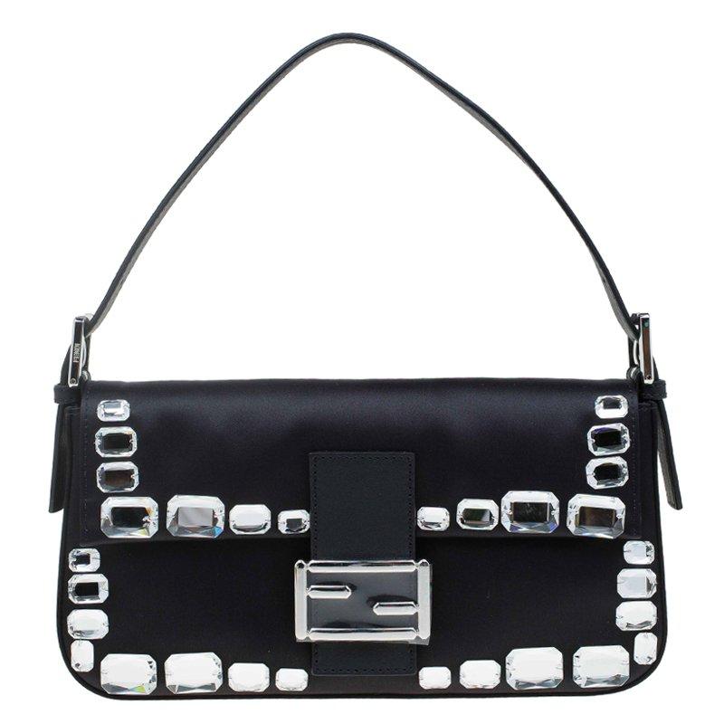 ba1b44d62337 ... Fendi Black Satin Leather Crystal Embellishments Baguette Shoulder Bag.  nextprev. prevnext