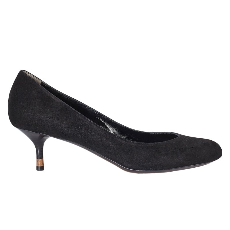 4d6af33f85 Buy Fendi Black Suede Kitten Heel Pumps Size 39 51992 at best price ...
