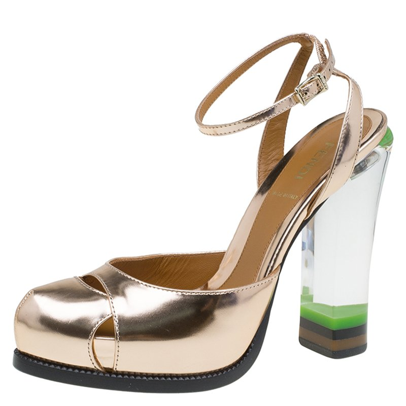 Buy Fendi Metallic Bronze Leather and Lucite Heel Ankle Strap ...
