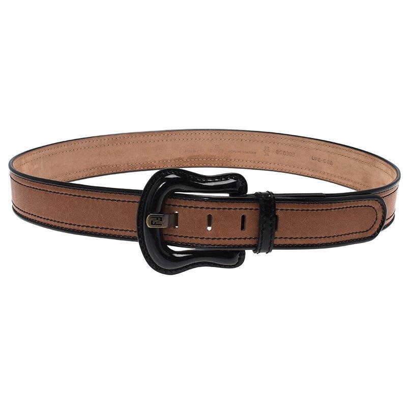 3ad106b117 Fendi Black and Brown Leather B Belt 90CM