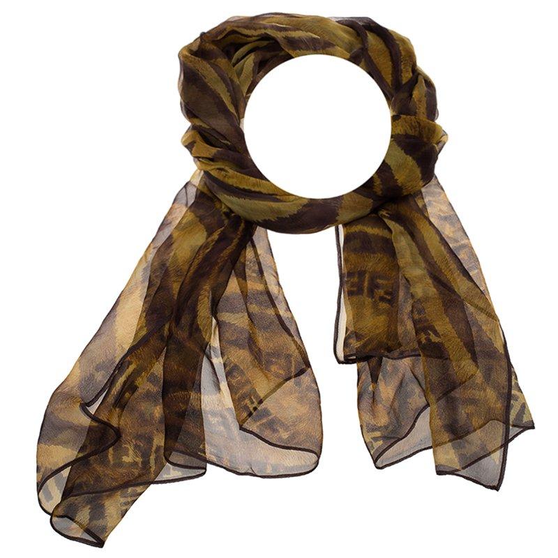 b1e062ab118b Buy Fendi Brown Animal Print Zucca Silk Scarf 87141 at best price