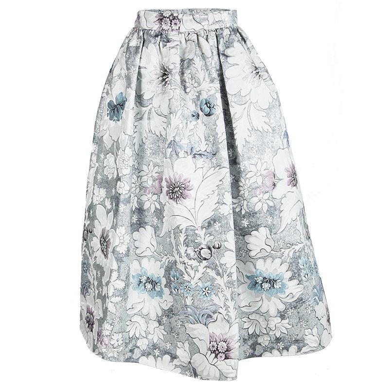 36c2091eb Buy Fendi Floral Metallic Brocade Gathered Midi Skirt S 100270 at ...