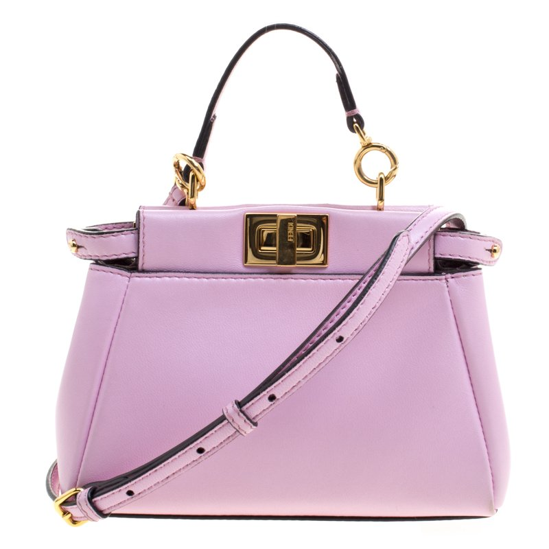 2902a434b115 Buy Fendi Pink Leather Micro Peekaboo Bag 102807 at best price