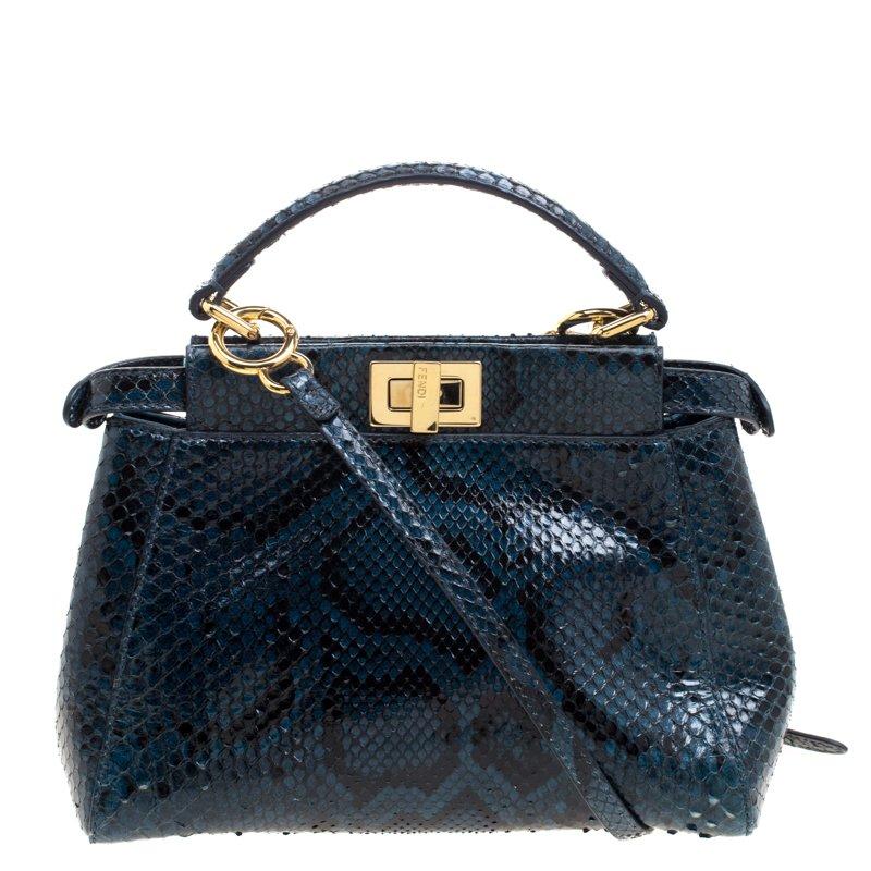 01bb11b20f12c Buy Fendi Blue Python Mini Peekaboo Top Handle Bag 103719 at best ...