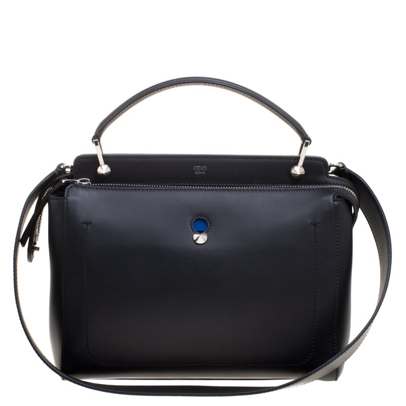 34bc97be100e Buy Fendi Black Leather Dotcom Top Handle Bag 107833 at best price