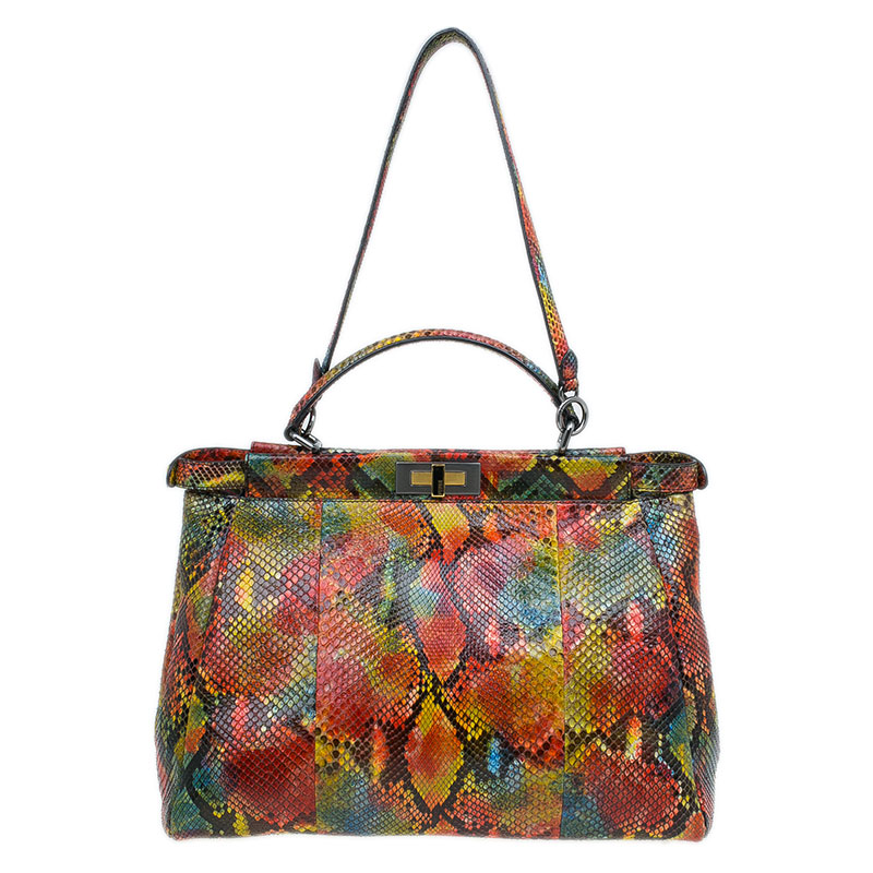 db5d7808dadb0 Buy Fendi Multicolor Python Leather Large Peekaboo Tote Bag 44833 at ...