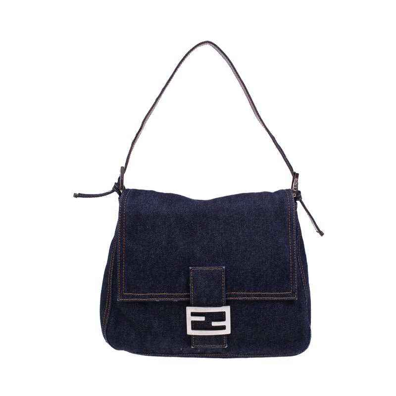 6376ce57d5a2 Buy Fendi Denim and Leather Mama Shoulder Bag 45828 at best price