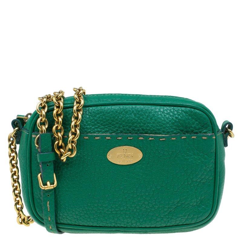050e36d1abf3 ... Fendi Green Leather Selleria Leather Small Crossbody Bag. nextprev.  prevnext