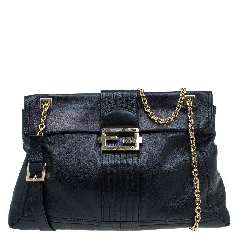 866f079ff550 ... Fendi Black Metallic Leather Maxi Baguette Flap Shoulder Bag. nextprev.  prevnext