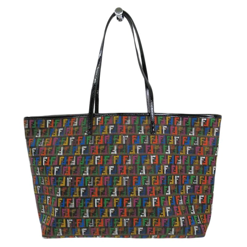 a774782a590 Buy Fendi Multicolor Zucchino Coated Canvas Roll Tote 59311 at best ...