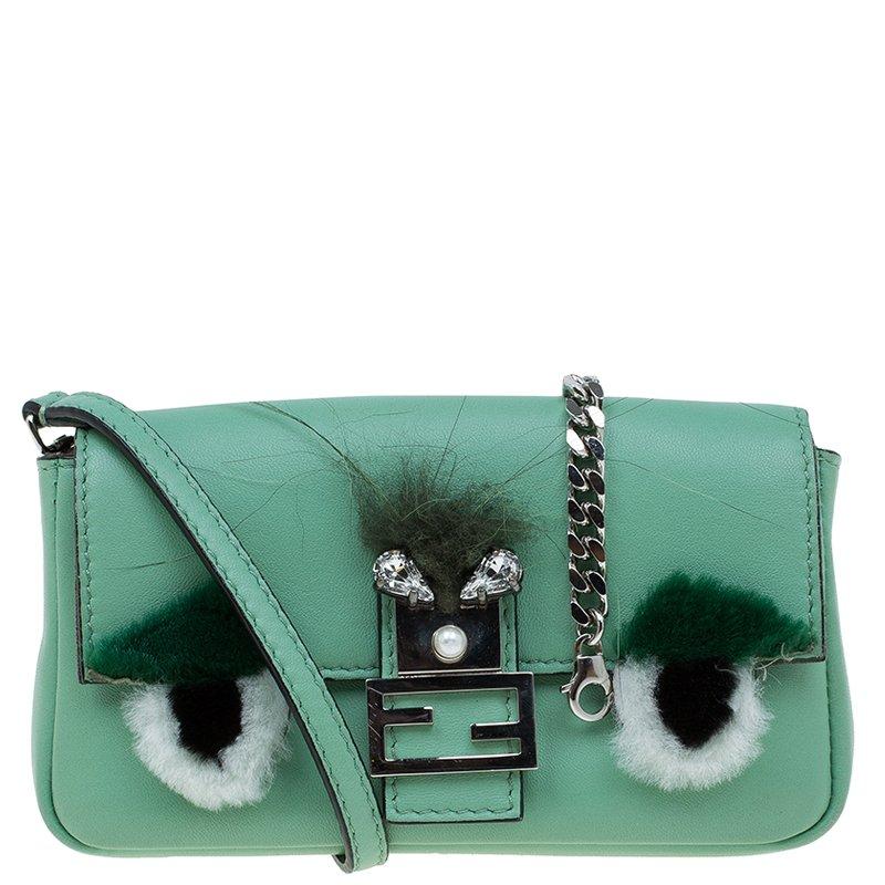 ae8bf54be9a ... Fendi Moss Green Leather Micro Monster Baguette Crossbody Bag.  nextprev. prevnext