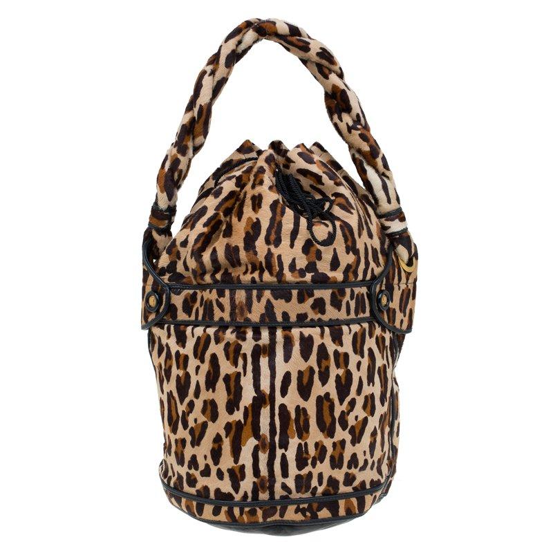 8c7be4a119f2 ... Fendi Leopard Print Calf Hair Palazzo Bucket Shoulder Bag. nextprev.  prevnext