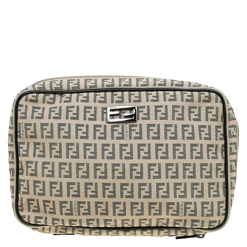Buy Fendi Beige Zucchino Canvas Cosmetic Pouch 64217 at best price  f3c36b050a766
