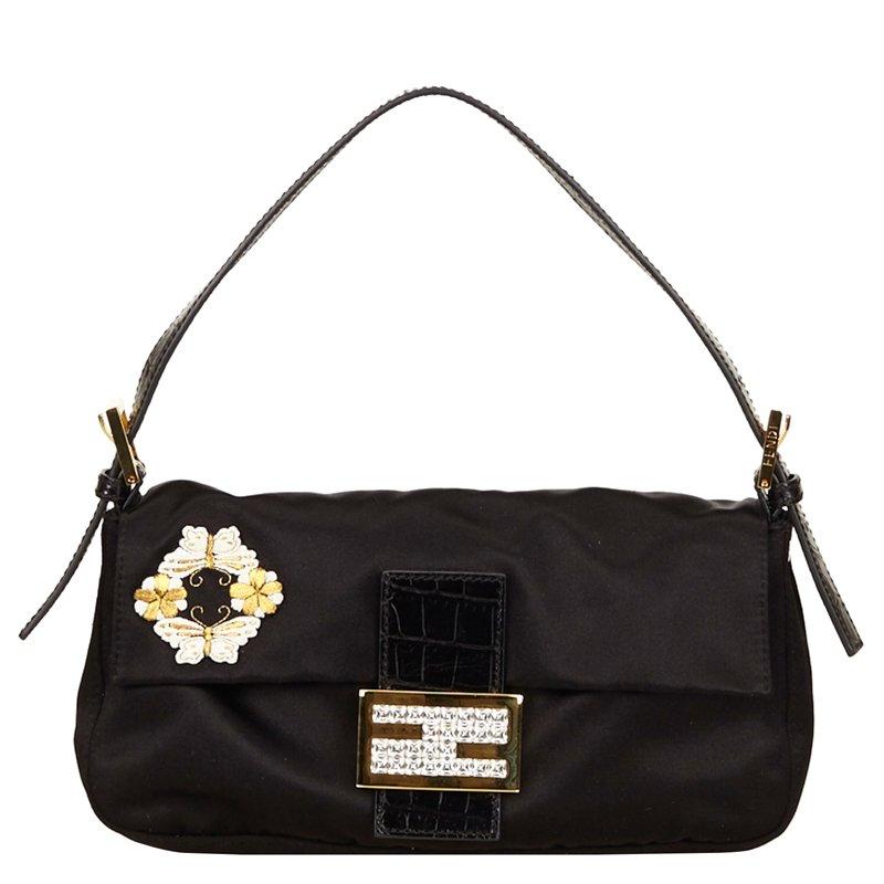 7d0c7417f13c Buy Fendi Black Satin Baguette Shoulder Bag 66245 at best price