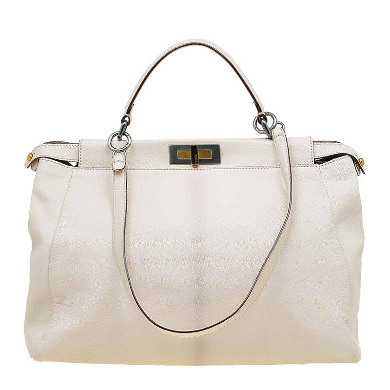 Fendi Beige LeatherLarge Peekaboo Top Handle Bag