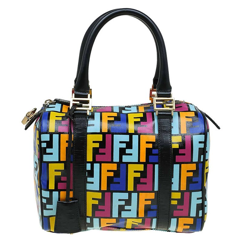 72d589da97a8d Buy Fendi Multicolor Zucca Coated Canvas Bauletto Boston Bag 70001 ...