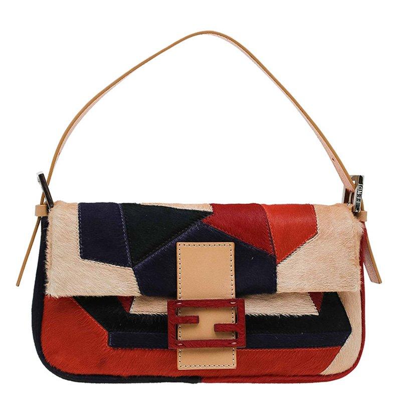 Fendi Multicolor Calf Hair Color Block Baguette Shoulder Bag