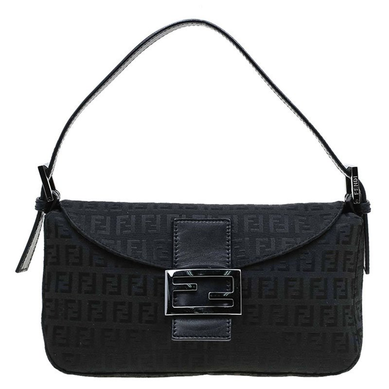 b4cdd79614 Fendi Black Zucchino Canvas Baguette Shoulder Bag