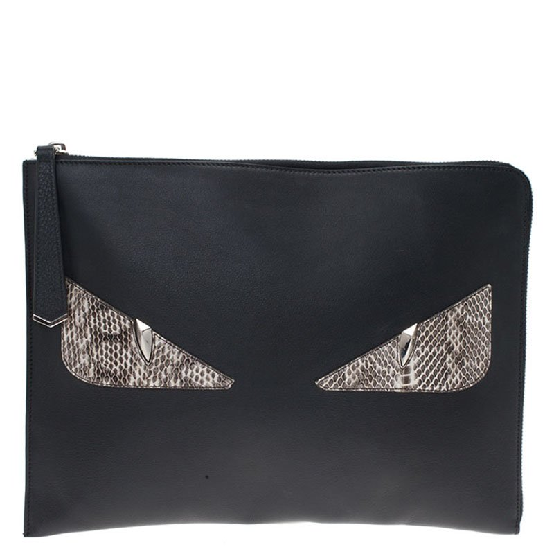 Fendi Black Leather and Python Monster Bugs Pouch