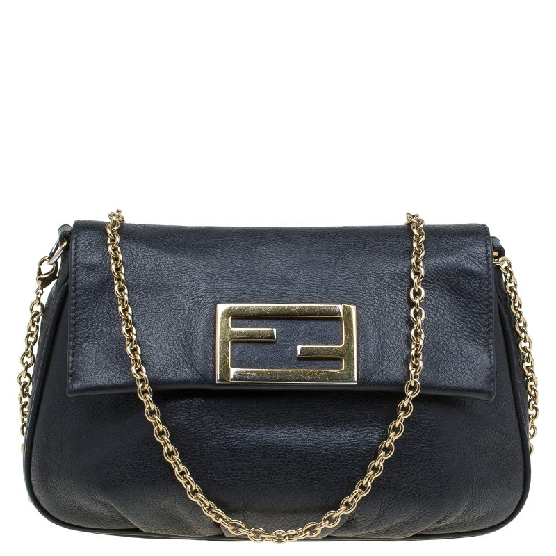 052764b32f ... Fendi Black Leather Fendista Pochette Crossbody Bag. nextprev. prevnext