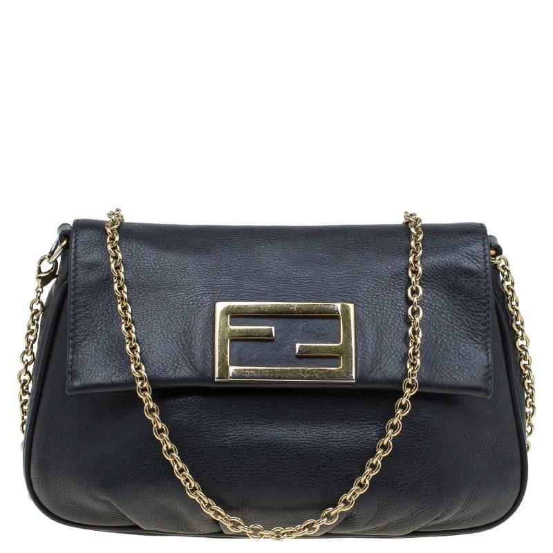 Buy Fendi Black Leather Fendista Pochette Crossbody Bag 80501 at ...