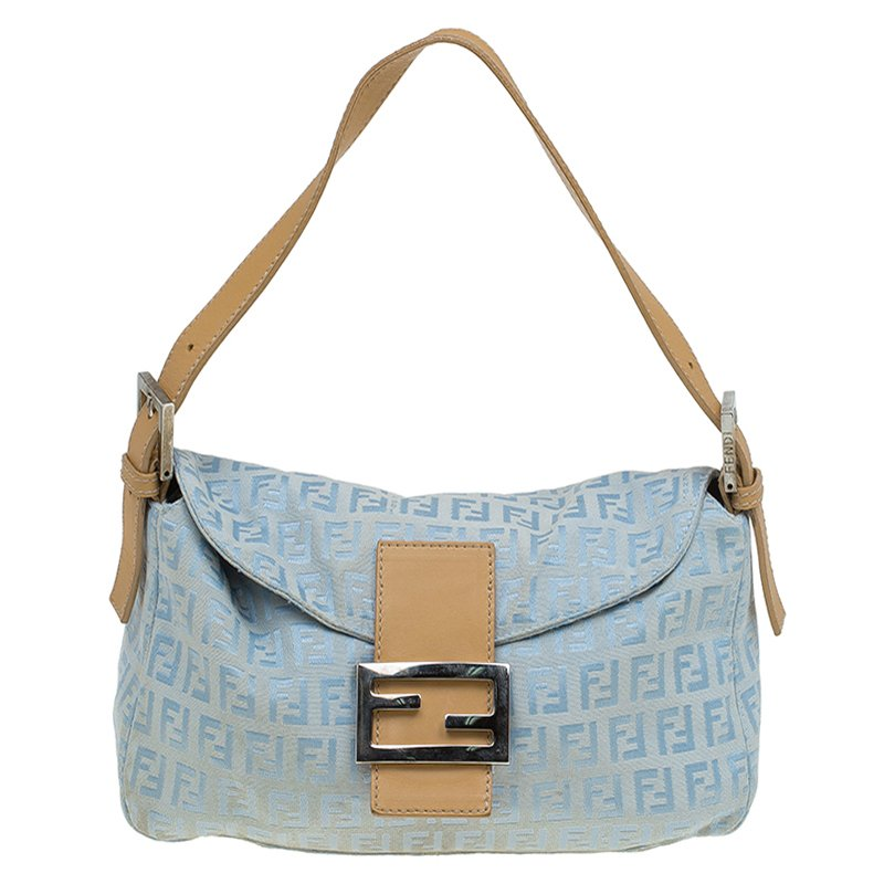 a2b3a4719a ... Fendi Metallic Blue Zucchino Canvas Baguette Shoulder Bag. nextprev.  prevnext