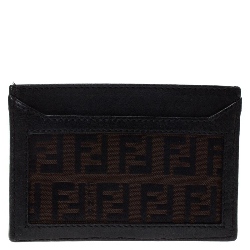 b7a03141 Fendi Brown Zucchino Canvas and Leather Card Holder