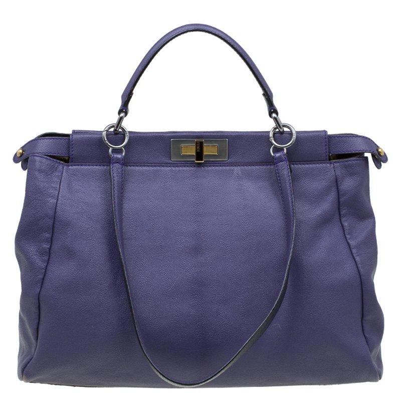 cbc2b1fa4697 ... Fendi Purple Leather Large Peekaboo Top Handle Bag. nextprev. prevnext
