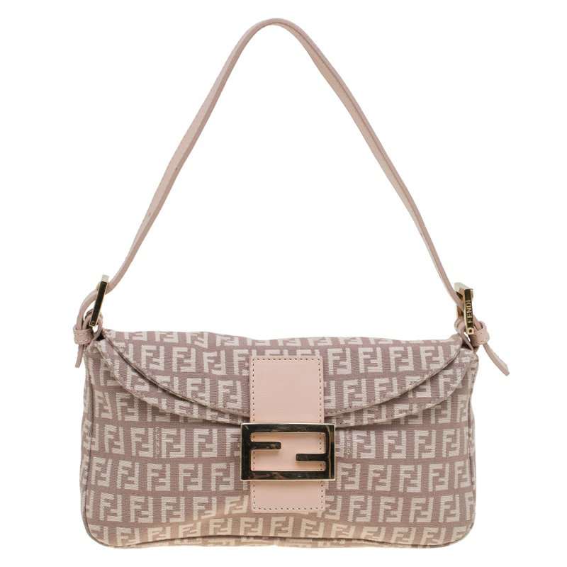 97727904e Buy Fendi Pink Zucchino Canvas Shoulder Bag 85335 at best price | TLC