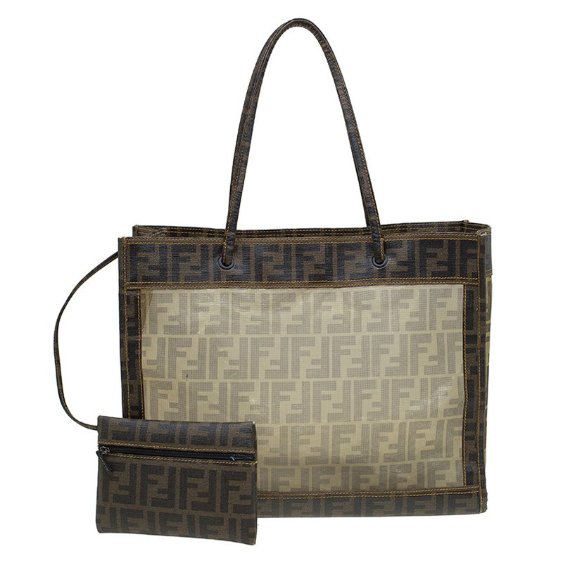 e864ae48d ... Fendi Tobacco Zucca Mesh and Coated Canvas Tote. nextprev. prevnext