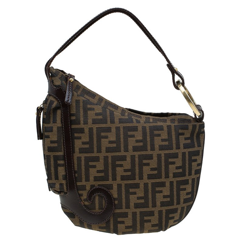 21ed71562bf2 Buy Fendi Tobacco Zucca Canvas Small Oyster Hobo 87519 at best price ...