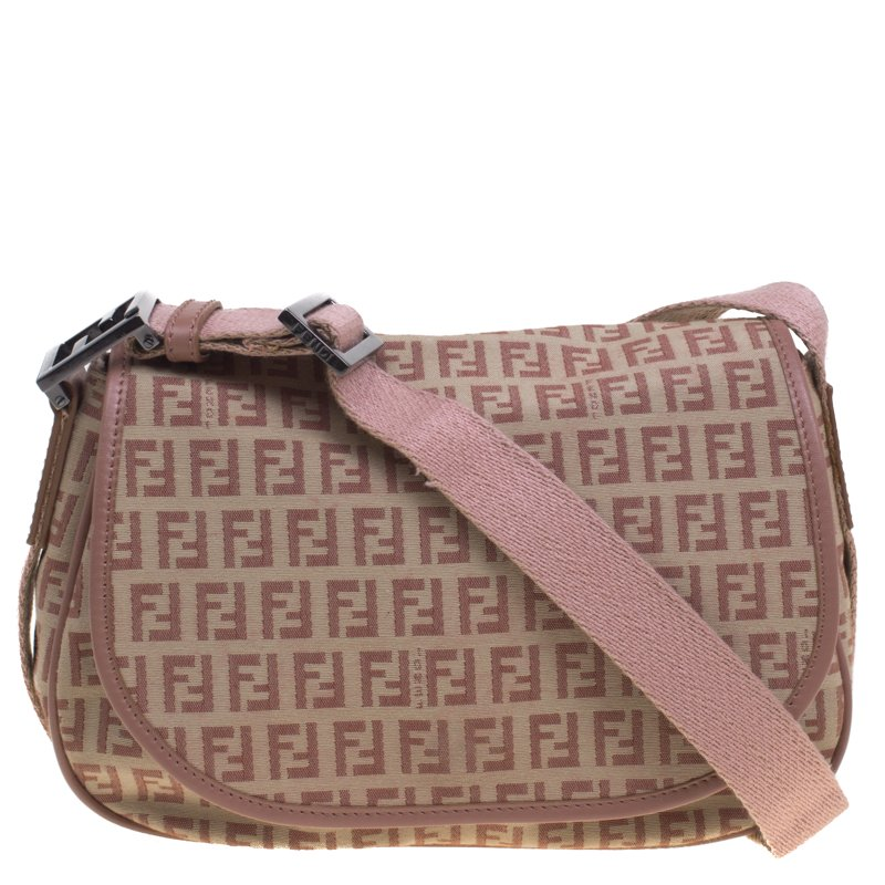 6e15a60d88c9 Fendi Beige/Pink Zucchino Canvas Crossbody Bag