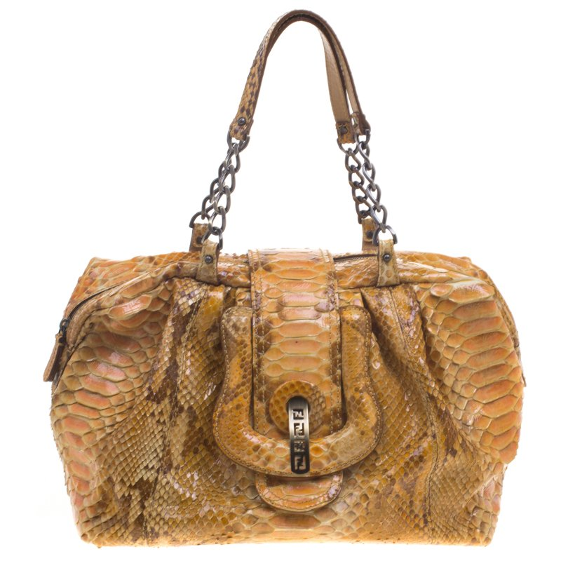 224c7db40b9b Buy Fendi Yellow Python B Bag 93057 at best price