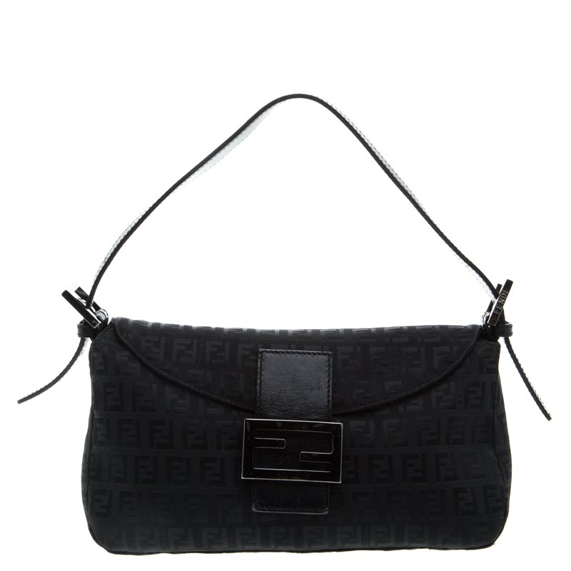 205d76d52f ... Fendi Black Zucchino Fabric Baguette Shoulder Bag. nextprev. prevnext